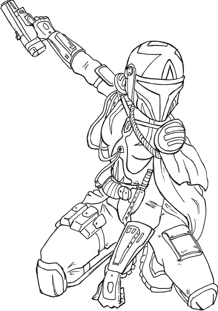 Female mandalorian armor template Xena coloring book