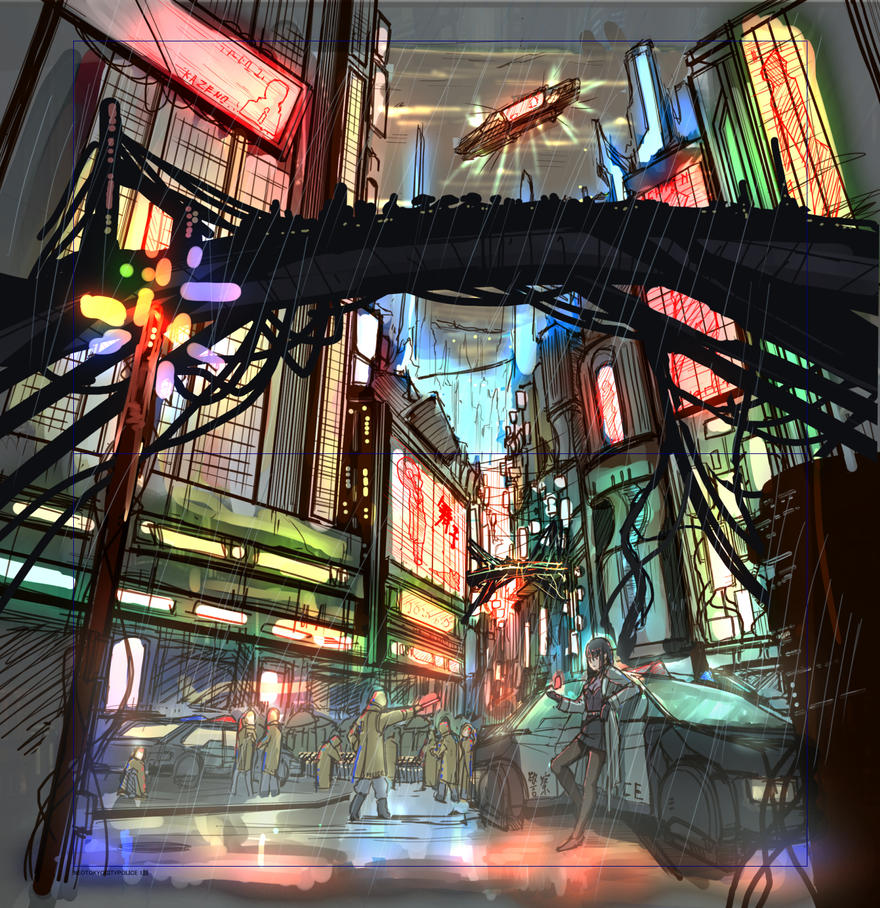Downtown_roughsketch by PenName-Kazeno