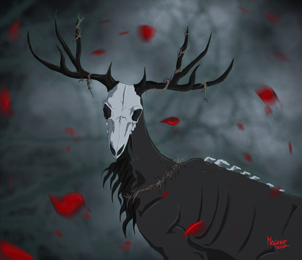 The Deer And The Rose by DarkWolfdog