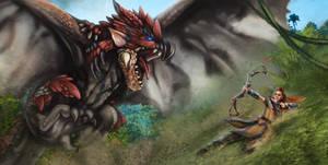 Aloy in Monster Hunter World by MaggieRoseStudio