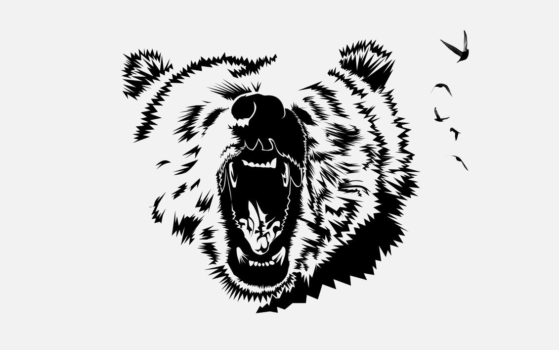 Bear Face Line Drawing : Grizzly bear face drawing