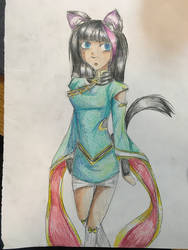 Dungeons and Dragons OC:  Akari - Catfolk Ninja by MasterJiggywiggy