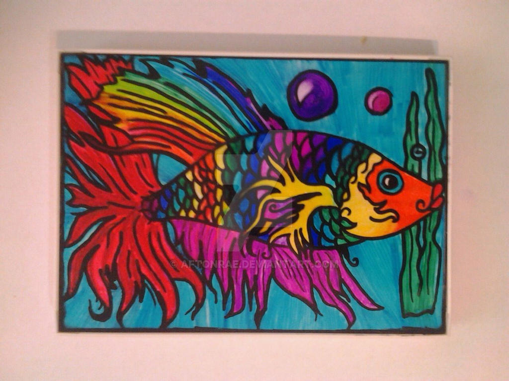 Betta fish ink drawing on glass by aftonrae on DeviantArt