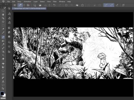 Inking process for Journal of Terror comic