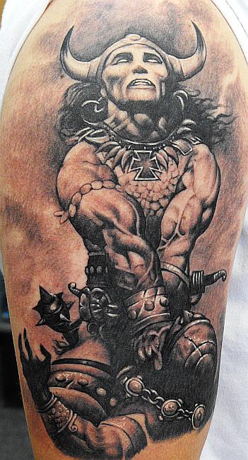 conan frazetta tattoo - shoulder tattoo