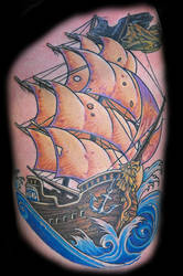 sailing ship tattoo by optimuspint