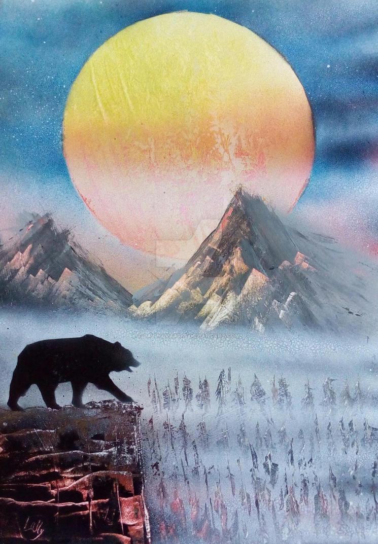 bear spray painting by LallySvarion