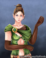 Female Elf with Blue Eyes (Dungeons n Dragons OC) by Catifornia