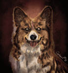 Halloween Style Watercolor Zombie Dog portrait