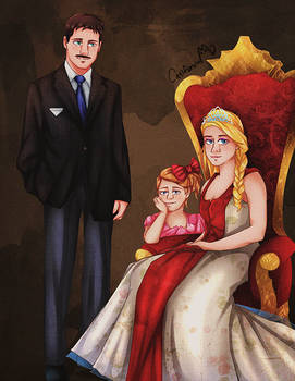 Commission: Vintage Cartoon Royal Family portrait