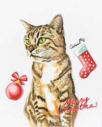 Christmas Watercolor Pet Portrait for a Tabby Cat by Catifornia