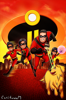 Pixar Incredibles Style Cartoon Family Portrait