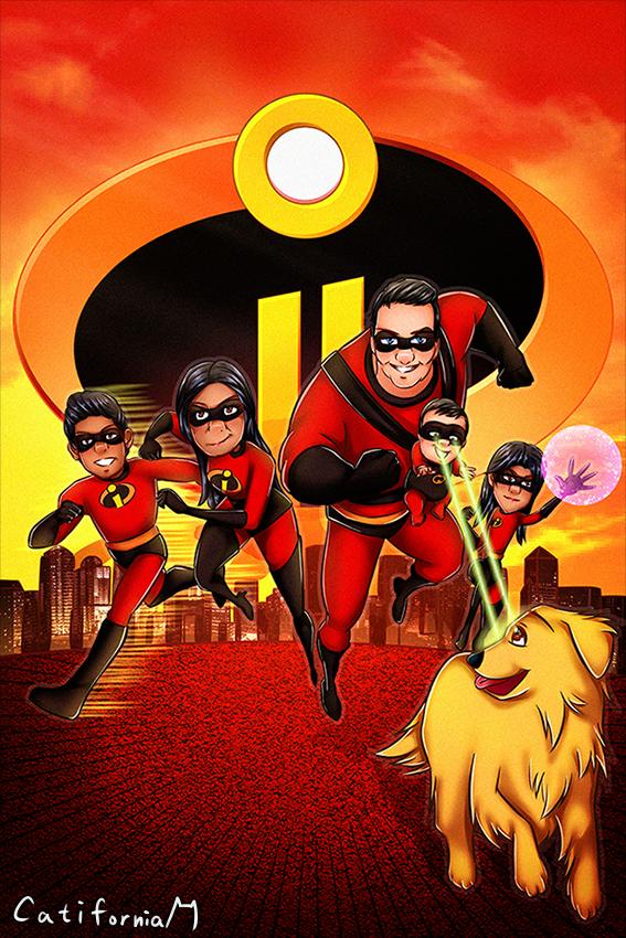 Pixar Incredibles Style Cartoon Family Portrait