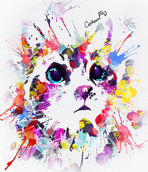 Watercolor Kitty Portrait for a Cat lover friend by Catifornia