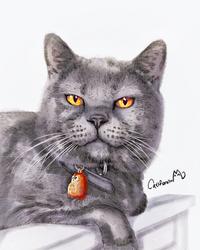 Watercolor Kitty Portrait for Our Cat friend Raven