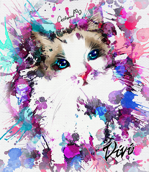 Watercolor Kitty Portrait for Our Cat friend Vivi by Catifornia