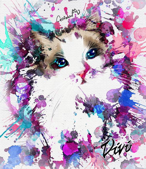 Watercolor Kitty Portrait for Our Cat friend Vivi