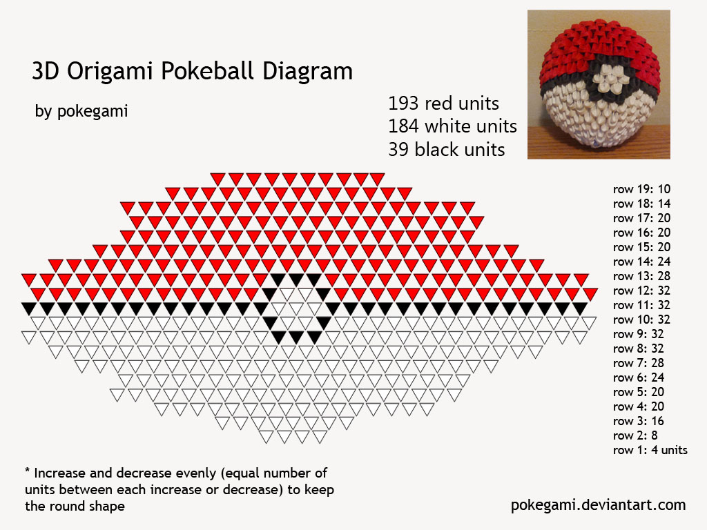 3D Origami Pokeball Diagram By Pokegami On DeviantArt