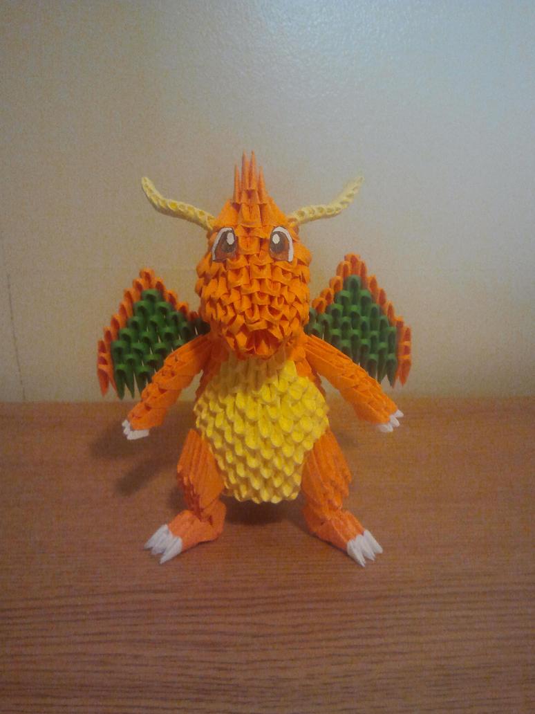 3D Origami Dragonite by pokegami