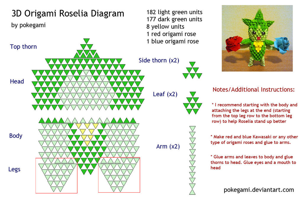 3D    Origami    Roselia    Diagram    by pokegami on DeviantArt