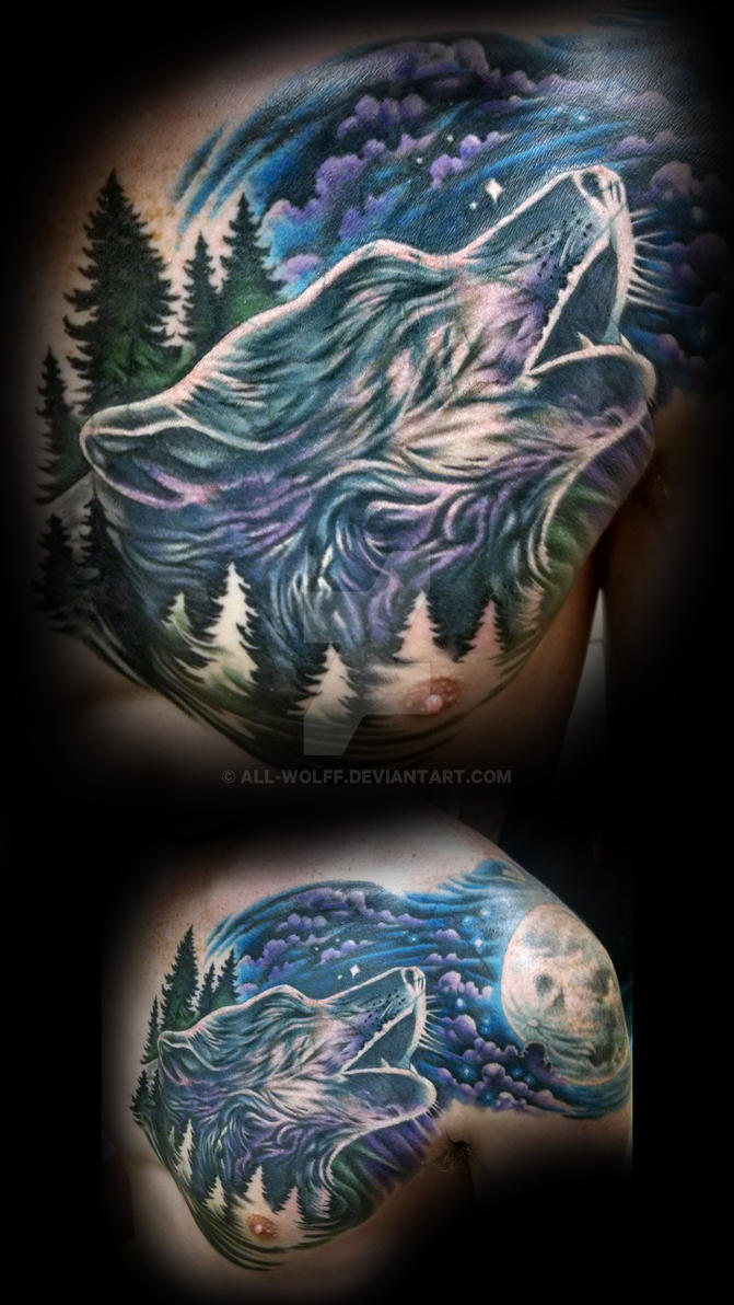 wolf cover-up tattoo by All-Wolff