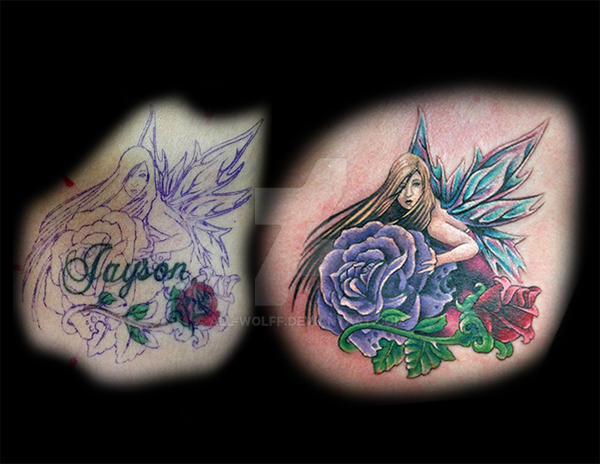 fairy cover-up tattoo by All-Wolff