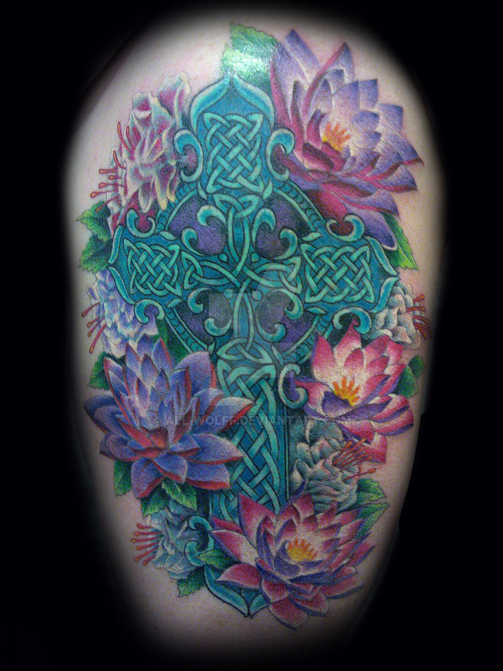 celtic cross tattoo with flowers by All-Wolff