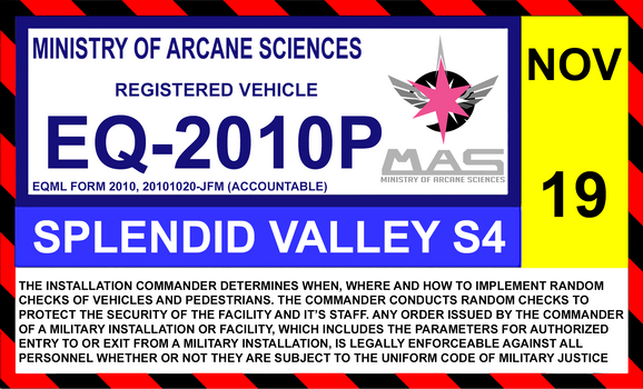 Ministry of Arcane Sciences windshield ID sticker