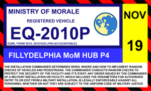 Ministry of Morale windshield ID sticker