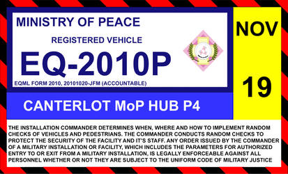 Ministry of Peace windshield ID sticker