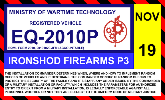 Ministry of Wartime Tech windshield ID sticker