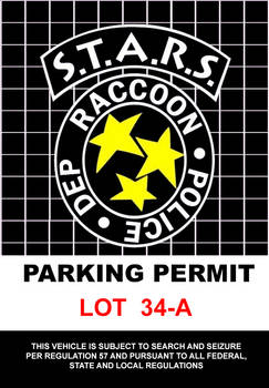 (Resident Evil) STARS Parking Permit (Vertical)