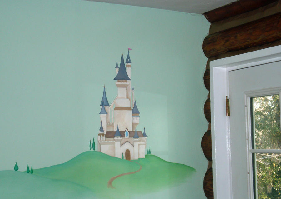 Fairy tale castle mural in play room by syoshiko on deviantart for Castle mural kids room