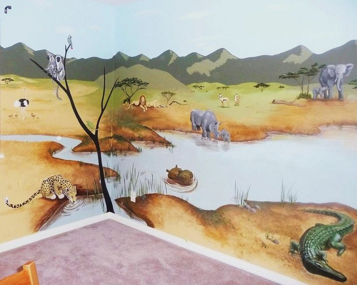 African theme nursery mural by syoshiko on deviantart for African mural painting