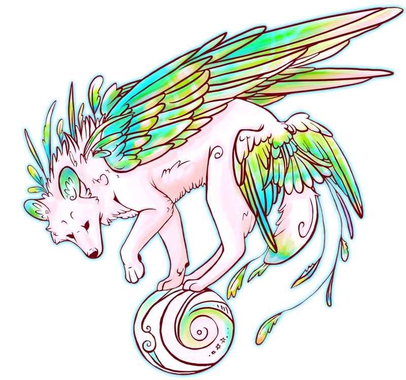 Random winged wolf by NecktiePom