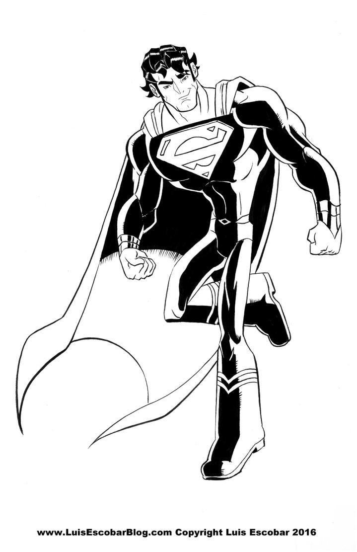 Superman Pinup Ink by LuisEscobar