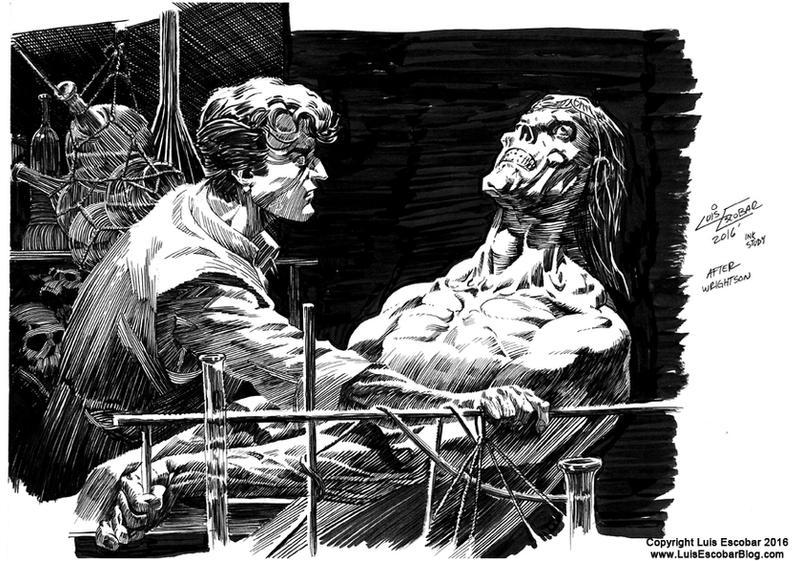 Bernie Wrightson Frankenstein Ink Study by LuisEscobar