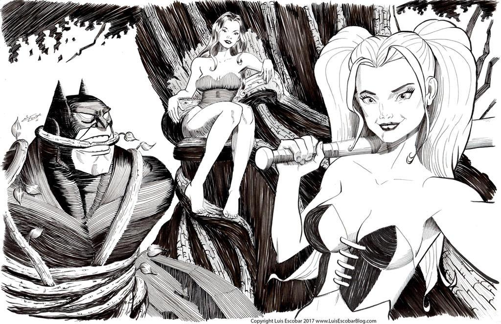 Batman, Poison Ivy, Harley Quinn by LuisEscobar