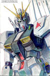 RX-93 Nu Gundam Watercolor Sketchbook Drawing