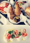 Breakfast - croissant, cream, tomatoes, olives