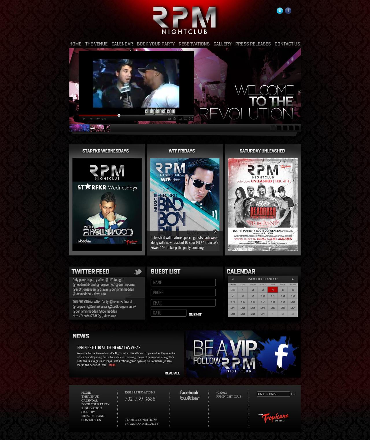 nightclub web prototype by sounddecor