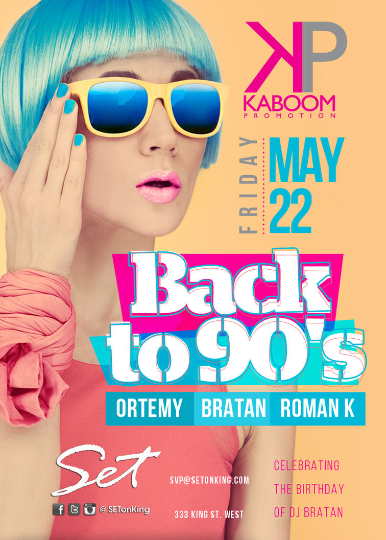 Flyer Backto90s Kaboom by sounddecor