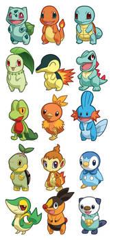 Pokemon Starter Sets 1-5 by cosplayscramble
