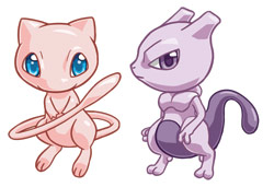 Pokemon Legendaries Mew + Mewtwo by cosplayscramble