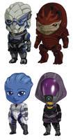Mass Effect Sets 1+2: Garrus, Wrex, Liara, Tali