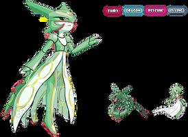 Pokemon Fusion I Rayquaza x Gardevoir I by StellarKnight1