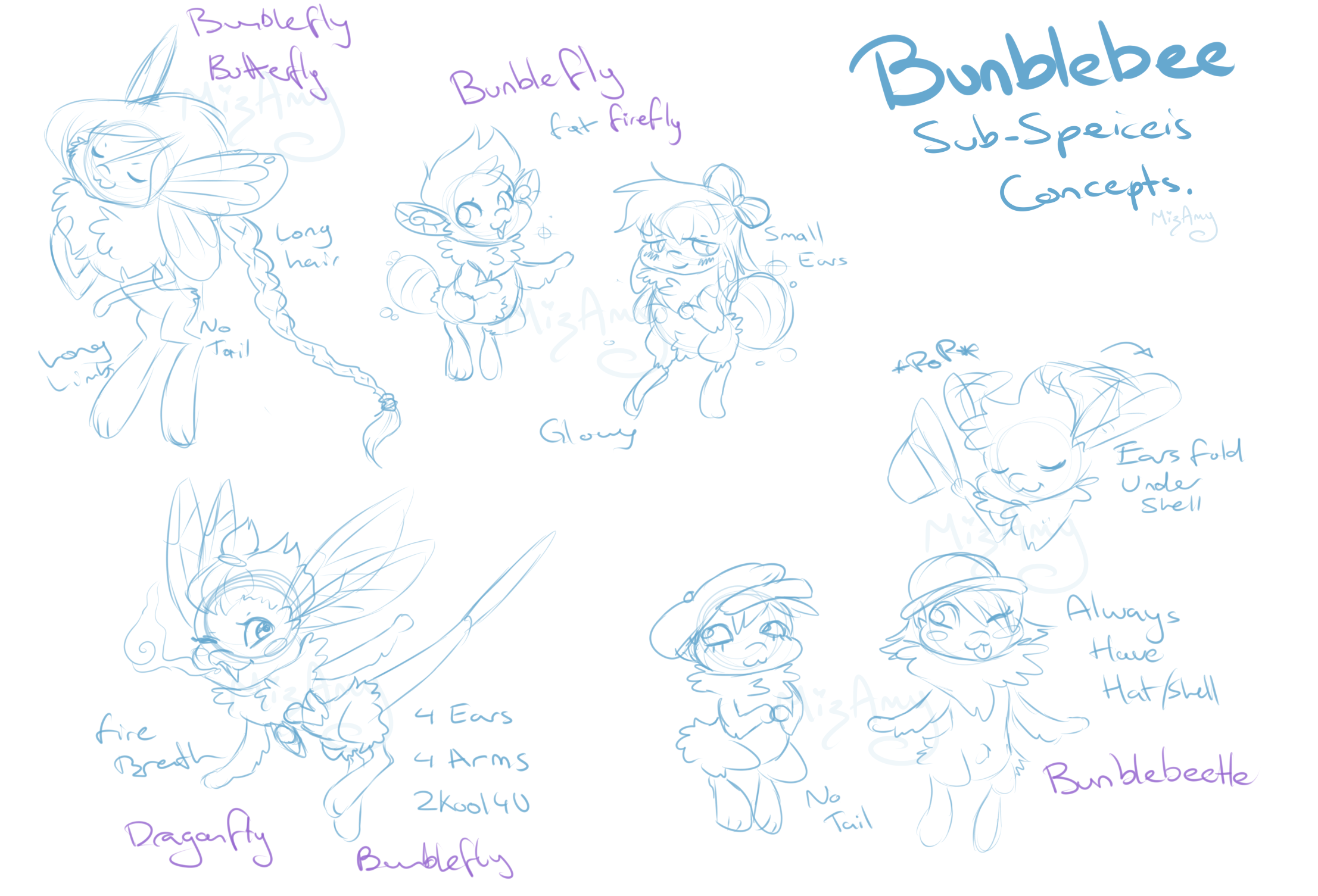 Bunblebee subspecies concept sketches by Kandy-Cube