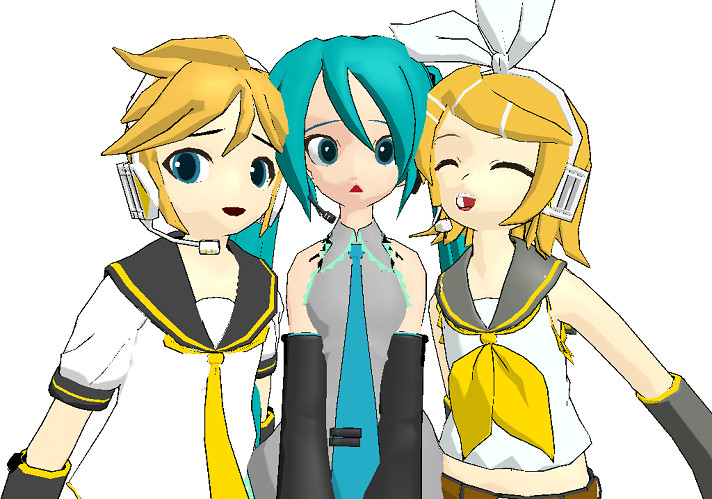 MMD - Miku, Rin, Len by mitchika2