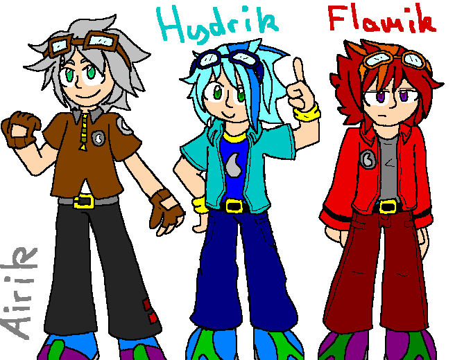 Airik, Hydrik, Flamik by mitchika2