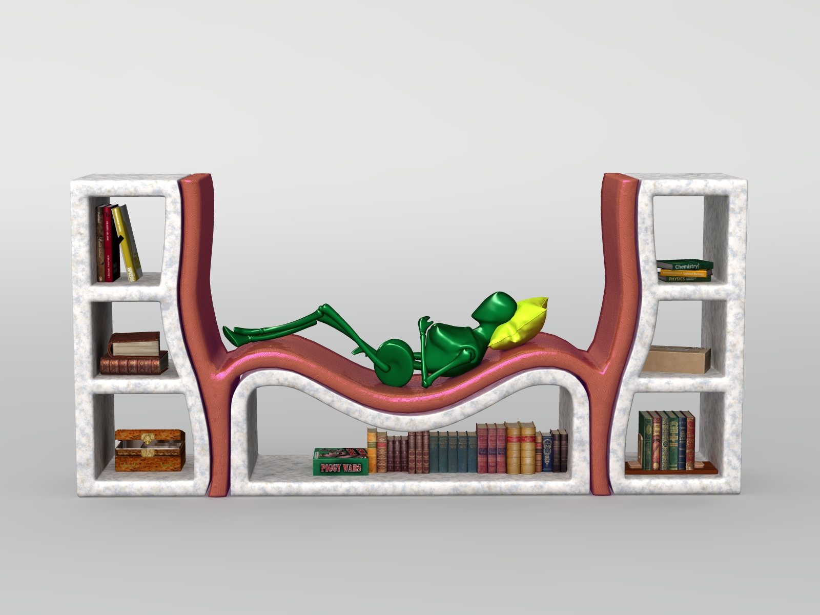 Bookshelf With Couch